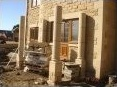 Construction of the stone portico pillars