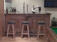 Completed bespoke bar constructed in solid oak with granite worktop