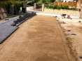 Screed sand compressed and levelled ready for block paving to be laid