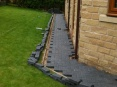 Near completed path to rear of property. Remaining blocks marked then cut using either a block cutter or stihl saw