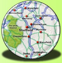 Map displaying cities within Yorkshire & Derbyshire
