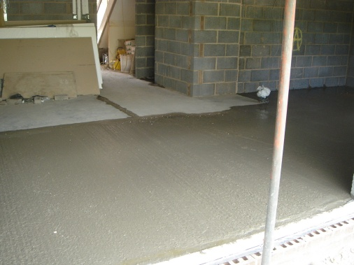 Concrete floor laid to match in with existing building