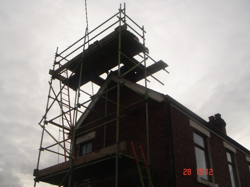 Scaffolding errected in preparation to repairing chimney stack